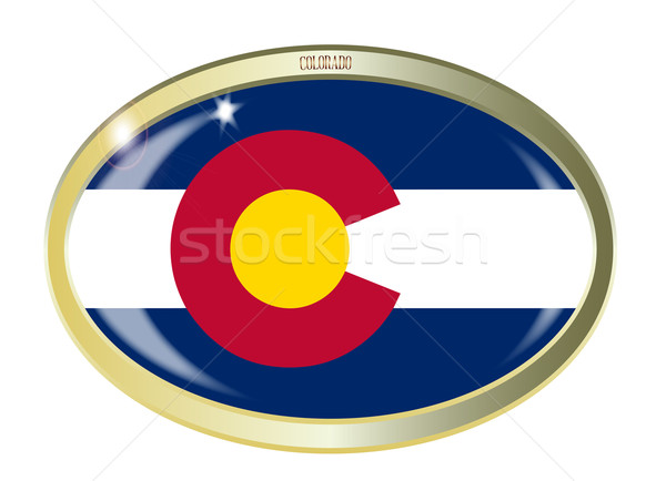 Colorado bayrak oval düğme Metal yalıtılmış Stok fotoğraf © Bigalbaloo