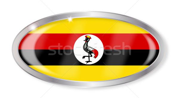 Uganda zászló ovális gomb ezüst izolált Stock fotó © Bigalbaloo