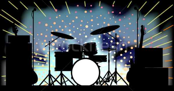 Luminoso rock band fase flash poster Foto d'archivio © Bigalbaloo