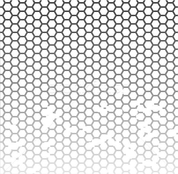 Favo de mel grunge padrão arte preto preto e branco Foto stock © Bigalbaloo