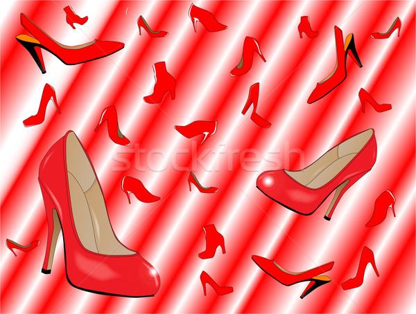 Esik az eső cipők piros hölgyek fehér divat Stock fotó © Bigalbaloo