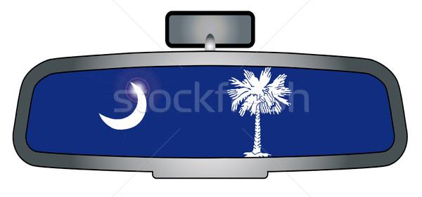 Rijden South Carolina voertuig achteraanzicht spiegel vlag Stockfoto © Bigalbaloo