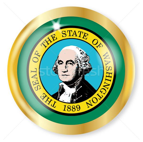 Waszyngton banderą przycisk złota metal Zdjęcia stock © Bigalbaloo
