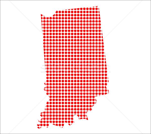 Vermelho ponto mapa Indiana fundo metal Foto stock © Bigalbaloo