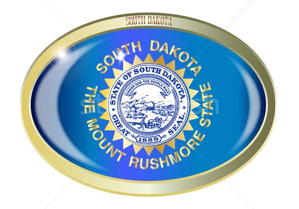 Южная Дакота флаг овальный кнопки металл изолированный Сток-фото © Bigalbaloo