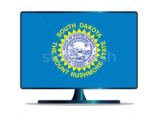 Güney bayrak tv bilgisayar ekranı bilgisayar izlemek Stok fotoğraf © Bigalbaloo