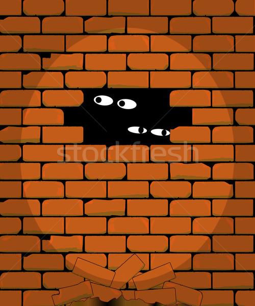 Reflektor játszik börtön fal szemek háttér Stock fotó © Bigalbaloo
