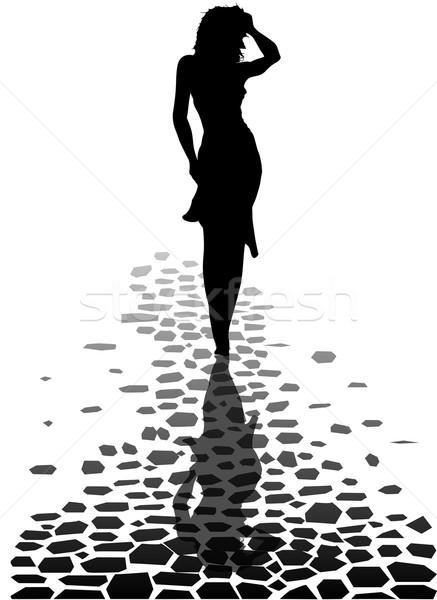 ходьбе домой босиком девушки силуэта Размышления Сток-фото © Bigalbaloo