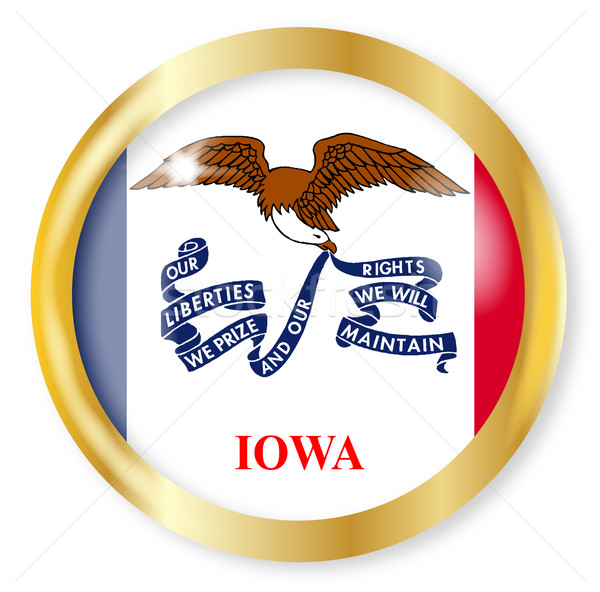 Iowa bayrak düğme altın Metal Stok fotoğraf © Bigalbaloo