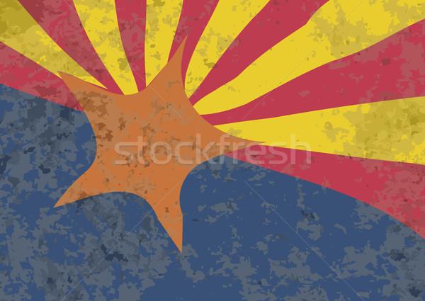 アリゾナ州 フラグ グランジ オレンジ 青 赤 ストックフォト © Bigalbaloo