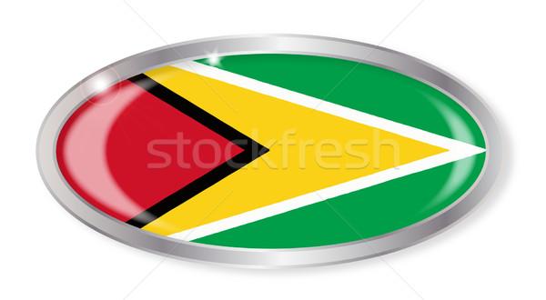 Guyana bayrak oval düğme gümüş yalıtılmış Stok fotoğraf © Bigalbaloo