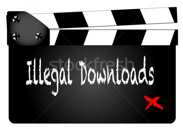 Illegal Downloads Clapperboard Stock photo © Bigalbaloo
