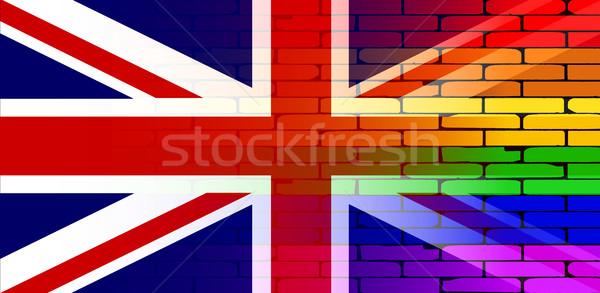 Homo regenboog muur union jack goed Stockfoto © Bigalbaloo