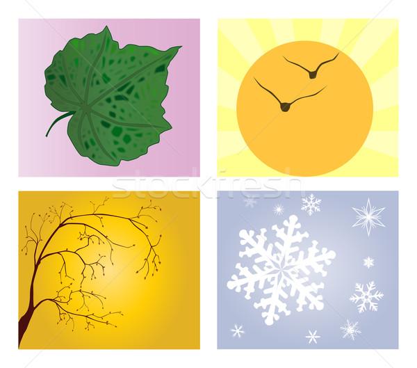 Cztery pory roku liści lata jesienią cool christmas Zdjęcia stock © Bigalbaloo