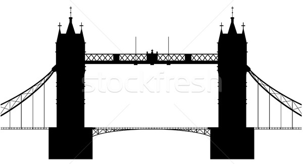 London bridge silhouette Londres Tower Bridge isolé blanche Photo stock © Bigalbaloo