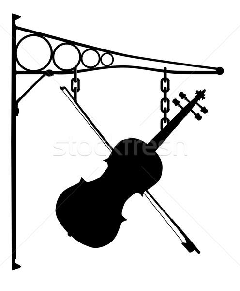 музыку магазине знак металл подвесной скрипки Сток-фото © Bigalbaloo