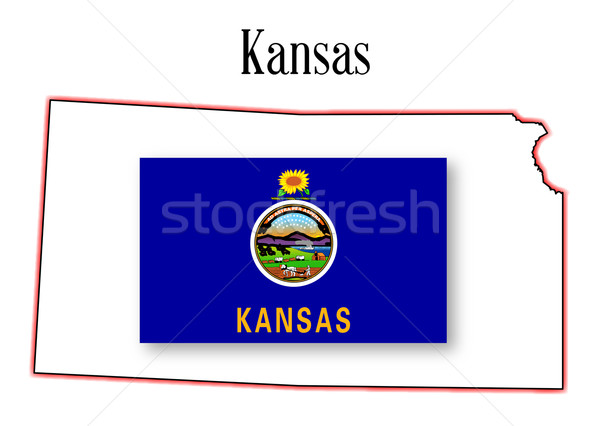 Kansas State Map and Flag Stock photo © Bigalbaloo