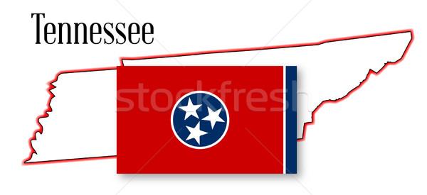 Tennessee Pokaż banderą biały graficzne Zdjęcia stock © Bigalbaloo