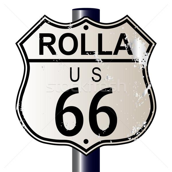 Route 66 teken verkeersbord witte legende route Stockfoto © Bigalbaloo
