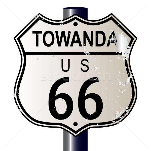 Ruta 66 signo signo tráfico blanco leyenda ruta Foto stock © Bigalbaloo
