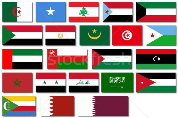 Flags of the Arab League Stock photo © Bigalbaloo