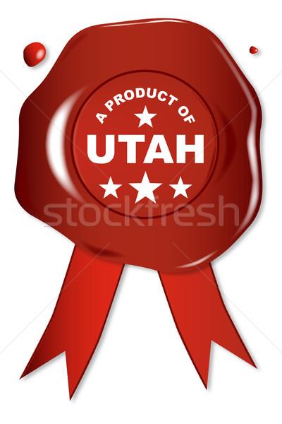 Produit Utah cire sceau texte rouge Photo stock © Bigalbaloo