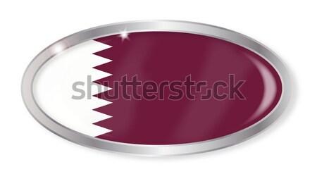 Catar bandeira oval botão prata isolado Foto stock © Bigalbaloo
