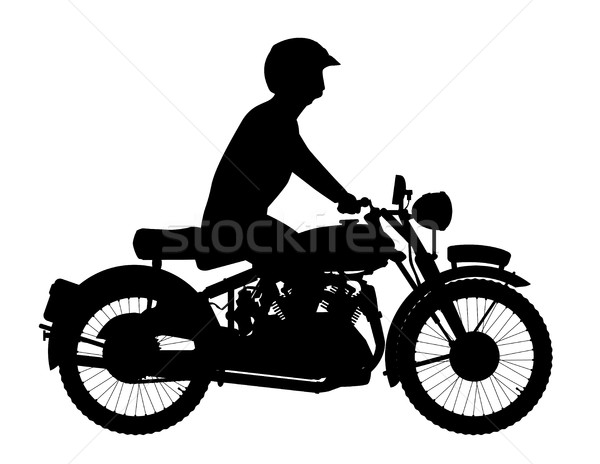 Сток-фото: Motor · велосипедист · силуэта · классический · стиль · цикл