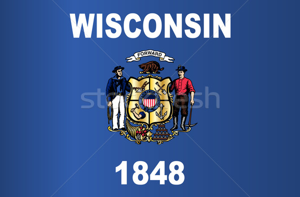 Stock fotó: Wisconsin · zászló · USA · rajz