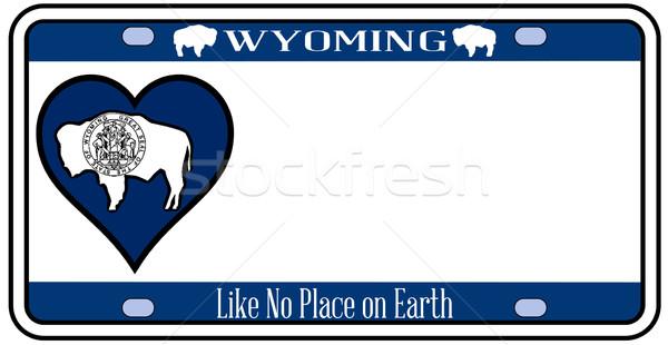 Wyoming placa colores bandera iconos blanco Foto stock © Bigalbaloo
