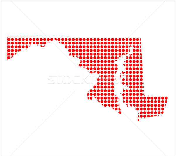 Red Dot Map of Maryland Stock photo © Bigalbaloo
