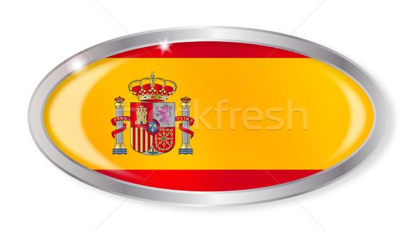 スペイン国旗 オーバル ボタン 銀 孤立した 白 ストックフォト © Bigalbaloo