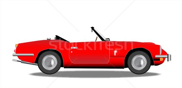 öreg sportautó klasszikus brit piros fehér Stock fotó © Bigalbaloo
