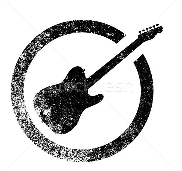 Electric Guitar Ink Stamp Stock photo © Bigalbaloo