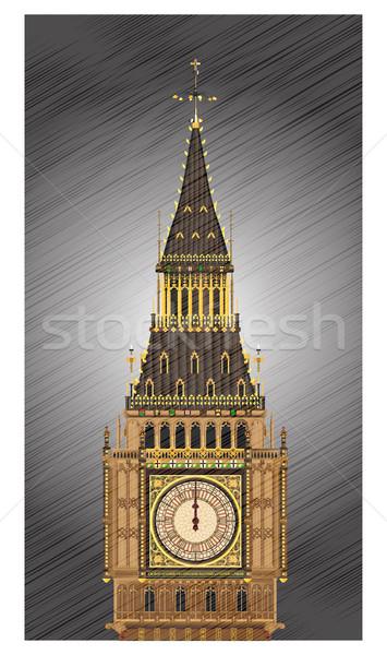éjfél részletes illusztráció Big Ben számlap időjárás Stock fotó © Bigalbaloo