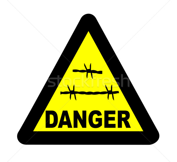 Triangle Barbed Wire Warning Sign Stock photo © Bigalbaloo