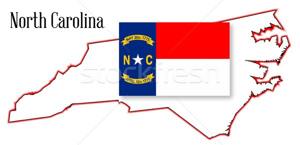 Észak-Karolina térkép zászló skicc rajz Stock fotó © Bigalbaloo