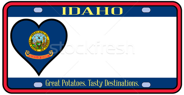 Айдахо номерной знак цветами флаг иконки белый Сток-фото © Bigalbaloo