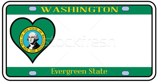 Вашингтон номерной знак цветами флаг иконки белый Сток-фото © Bigalbaloo