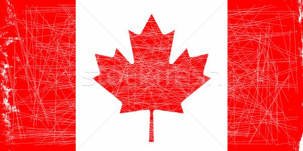 Drapeau canadien grunge lumière effet art rouge Photo stock © Bigalbaloo
