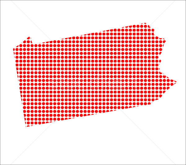 Red Dot Map of Pennsylvania Stock photo © Bigalbaloo