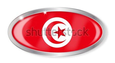 Tunísia bandeira oval botão prata isolado Foto stock © Bigalbaloo