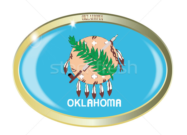 Oklahoma pavillon ovale bouton métal isolé Photo stock © Bigalbaloo