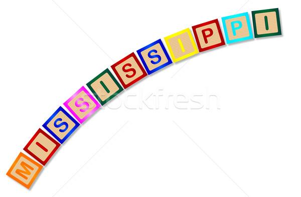 Mississipi ahşap harfler toplama yazım beyaz Stok fotoğraf © Bigalbaloo