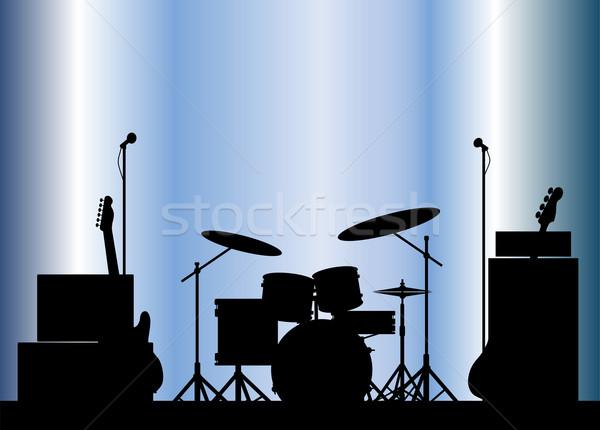 Rock band siluet kaya sahne caz Stok fotoğraf © Bigalbaloo