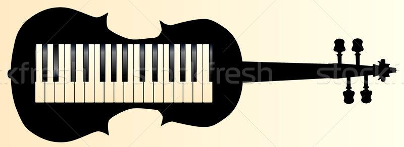 скрипка фортепиано набор скрипки силуэта музыку Сток-фото © Bigalbaloo