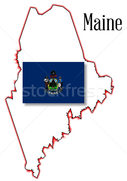 Maine State Map and Flag Stock photo © Bigalbaloo