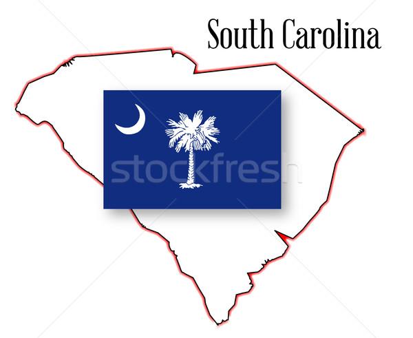 South Carolina State Map and Flag Stock photo © Bigalbaloo