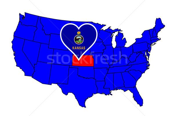 Kansas ikon ayarlamak harita Amerika Birleşik Devletleri Stok fotoğraf © Bigalbaloo