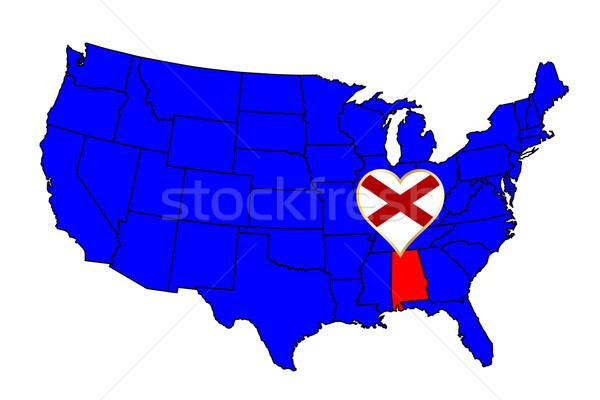 Алабама икона набор карта Соединенные Штаты Сток-фото © Bigalbaloo